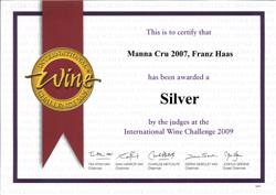 International Wine Challange 2009 - Manna 2007